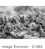 #21283 Stock Photography of Molly Pitcher Firing a Cannon at the Battle of Monmouth During the Battle of Monmouth of the American Revolutionary War, 1778 by JVPD