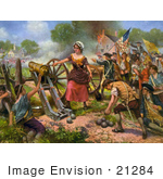 #21284 Stock Photography Of The Color Version Of Molly Pitcher Firing A Cannon At The Battle Of Monmouth During The Battle Of Monmouth Of The American Revolutionary War 1778