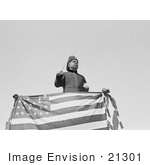 #21301 Stock Photography Of John Philip Sousa Standing Behind An American Flag Leading Bands At The American League Park