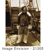 #21305 Stock Photography of Robert Edwin Peary Wearing Fur Clothing and Standing on the Deck of a Ship by JVPD