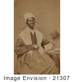 #21307 Stock Photography of Isabella Baumfree, Sojourner Truth, Knitting by a Vase of Flowers on a Table by JVPD