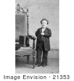 #21353 Stock Photography Of General Tom Thumb Standing Proudly By A Chair In 1863