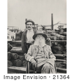 #21364 Historical Stock Photography of Walt Whitman in a Wheelchair, His Male Nurse, Warren Fritzenger by JVPD