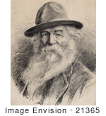 #21365 Historical Stock Photography Of Walt Whitman Wearing A Hat