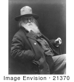 #21370 Historical Stock Photography Of Walt Whitman Wearing A Hat Sitting And Resting One Hand On His Cane The Other In His Pocket
