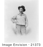 #21373 Historical Stock Photography Of Walt Whitman At 37 Years Old Wearing A Hat One Hand On His Hip The Other In His Pocket