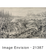 #21387 Historical Stock Photography Of The Capture And Death Of Sitting Bull At Standing Rock Indian Reservation