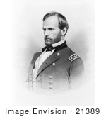 #21389 Historical Stock Photography Of William T Sherman In Uniform Facing To The Left
