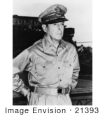 #21393 Historical Stock Photography of Douglas MacArthur in His Military Hat and Uniform by JVPD