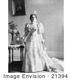 #21394 Stock Photography of Ida Saxton McKinley, First Lady and Wife of William McKinley, Standing in a Gown by a Portrait of Her Husband by JVPD