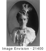 #21400 Stock Photography of Ida Saxton McKinley in a Lacy Dress With a Plumed Accessory in Her Hair by JVPD