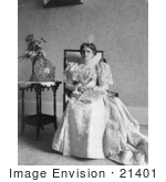 #21401 Stock Photography Of First Lady Ida Saxton Mckinley In A Gown Sitting By A Vase Of Flowers And Portrait On A Table