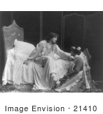 #21410 Stock Photography Of The Actress Sarah Bernhardt Resting Her Hand On The Shoulder Of A Maid