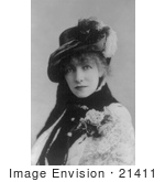 #21411 Stock Photography Of The Actress Sarah Bernhardt Wearing A Corsage And Plumed Hat 1880