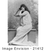 #21412 Stock Photography Of The Actress Sarah Bernhardt Wearing A Cloth While Acting With Her Hand Under Her Chin
