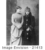 #21413 Stock Photography Of The Actress Sarah Bernhardt Standing Next To Lillie Langtry