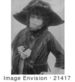#21417 Stock Photography of the Actress Sarah Bernhardt in a Feather Decorated Hat by JVPD