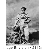 #21421 Stock Photography of the Actress Sarah Bernhardt in a Diving Suit While Playing the Role of the Ocean Empress by JVPD