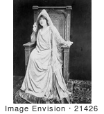 #21426 Stock Photography Of The Actress Sarah Bernhardt In Costume Sitting In A Chair