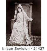 #21427 Stock Photography Of The Actress Sarah Bernhardt In Costume Sitting In A Chair