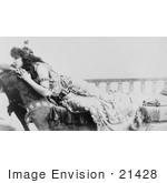#21428 Stock Photography Of The Actress Sarah Bernhardt Resting Her Head On Her Arms Over The Back Of A Chaise Lounge