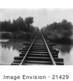 #21429 Stock Photography Of Train Tracks At The Southern Pacific Railroad Bridge Over The Calloway Canal In Kern County California