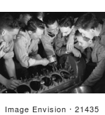 #21435 Stock Photography Of An Instructor Teaching A Class Of Students How To Assemble An Airplane Engine