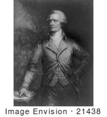 #21438 Stock Photography Of Alexander Hamilton With One Hand On His Hip And The Other Resting On Papers On A Table