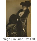 #21450 Stock Photography Of Alice Roosevelt Longworth Wearing A Feathered Hat And Fur Her Hands In A Muff