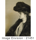 #21451 Stock Photography Of Alice Roosevelt Longworth In Profile Wearing A Plumed Hat And Fur Over Her Shoulders
