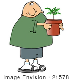 #21578 Friendly Neighbor Bringing a Plant to the New Neighbors Clipart by DJArt