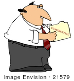 #21579 Sneaky Businessman Looking In A Confidential File Folder Clipart