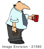 #21580 Hungry Businessman Carrying A Donut And Cup Of Coffee Clipart