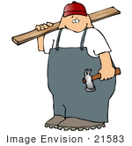 #21583 Carpenter With A Hammer And Piece Of Wood Clipart