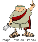 #21584 Roman Soldier With A Sword Clipart
