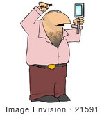 #21591 Man With A Hairy Chest Using A Hand Mirror To Watch While Combing His Hair Clipart Illustration