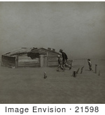 #21598 Stock Photography Of A Farmer And Sons Walking Past A Building During A Sand Storm 1936