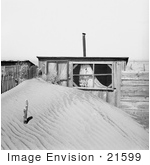 #21599 Stock Photography Of A Large Pile Of Sand In Front Of An Outhouse In Oklahoma 1936