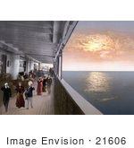 #21606 Stock Photography Of People Strolling On The Promenade Deck Of A Steamship At Sunset