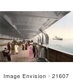 #21607 Stock Photography Of People On Benches And Strolling On The Promenade Deck Of The Maria Theresia Steamship North German Lloyd Royal Mail Steamers