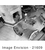 #21609 Stock Photography Of Couches And Tables Surrounding The Fireplace In The Lobby At The Timberline Lodge Oregon