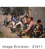 #21611 Stock Photography Of Barbers Shaving Clients Near Seraskierrat Seraskerat Constantinople Turkey