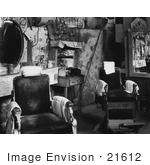 #21612 Stock Photography of the Interior of a Barber Shop in Atlanta, Georgia, 1936 by JVPD