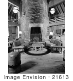 #21613 Stock Photography Of The Lobby With Couches And Fireplace At Timberline Lodge Oregon