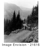 #21616 Historical Stock Photography Of A Man Standing By A Car On The Detroit Electric Automobile From Seattle To Mt Rainier Tour Washington 1919