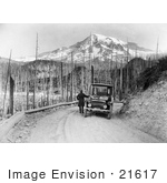 #21617 Historical Stock Photography Of A Man Viewing A Mountain And Forest Fire Damage During A Detroit Electric Automobile From Seattle To Mt Rainier Tour In Washington In 1919