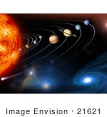 #21621 Stock Photography Of The Solar System And Beyond With The Sun Mercury Venus Earth Mars Jupiter Saturn Uranus Neptune Pluto And Galaxies