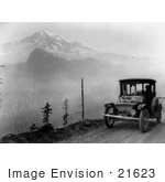 #21623 Historical Stock Photography Of A Detroit Electric Auto Near Mount Rainier On A Promotional Tour From Seattle To Mt Rainier 1919