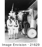 #21629 Stock Photography of Sailors by Charles Lindbergh's Spirit of St Louis Plane by JVPD