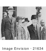 #21634 Stock Photography Of Pilot Charles Lindbergh And Mother With First Lady And President Coolidge